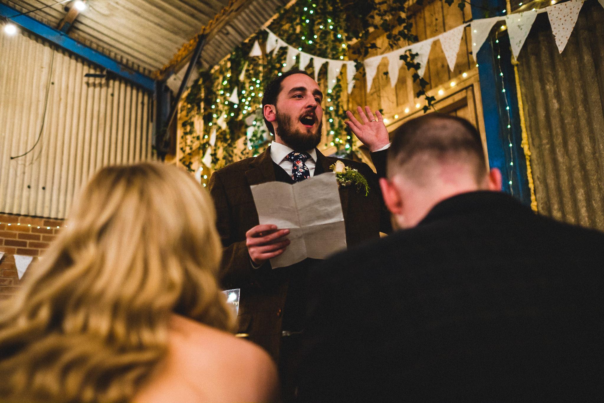 Groom giving hilarious wedding speech