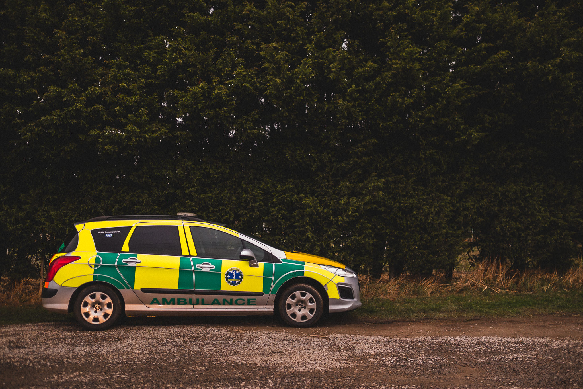 Ambulance arrives at inflatable assault course at wedding reception Leeds, Hillam