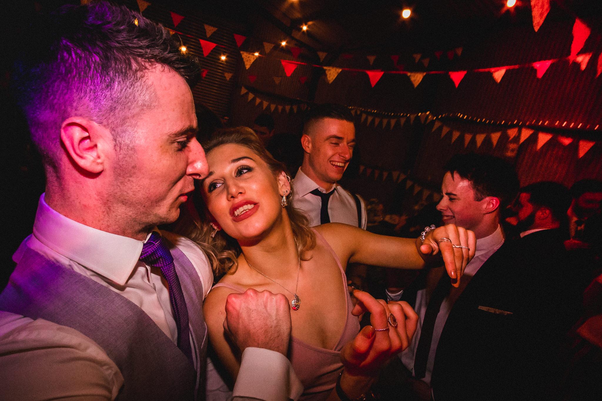 Crazy party animals dancing at wedding after reception at Berts Barrow Farm