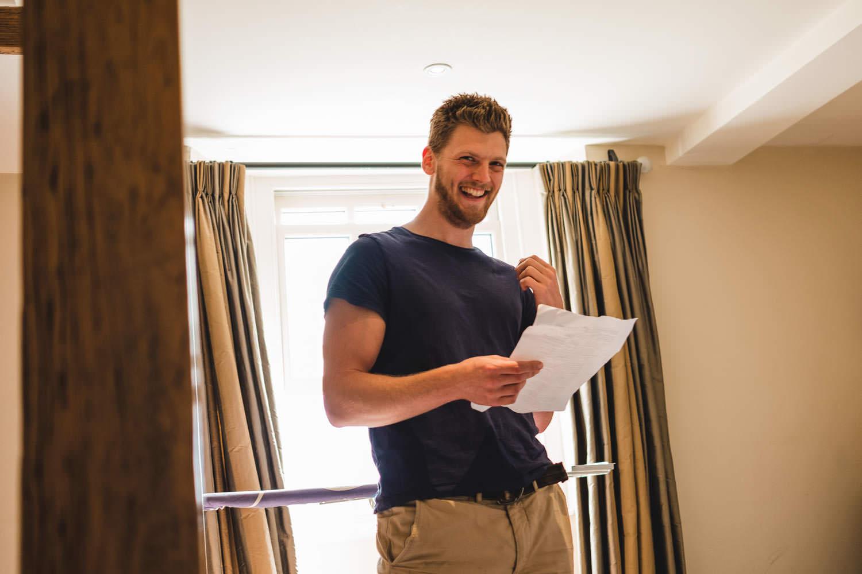 Groom preparing his speech