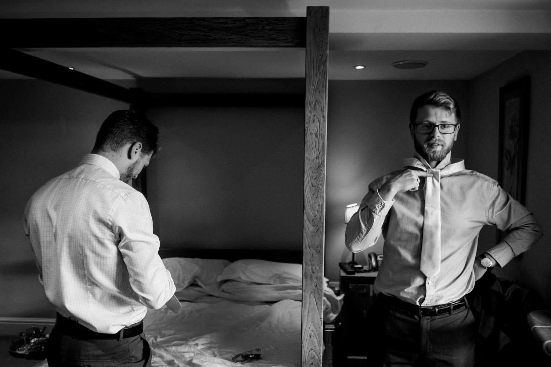 Tying a wedding tie