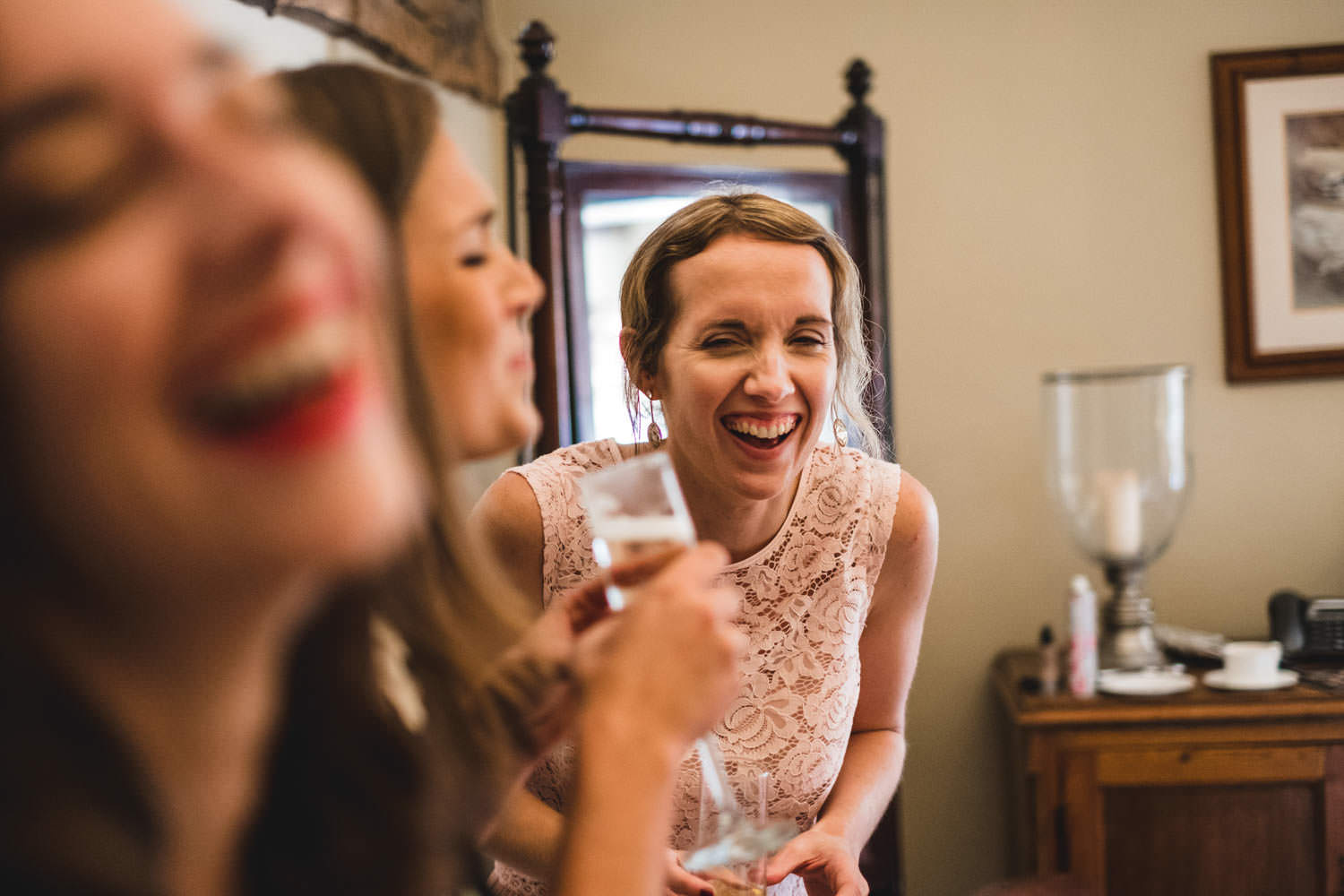 Bridesmaids laughing in Crosthwaite the Lake District