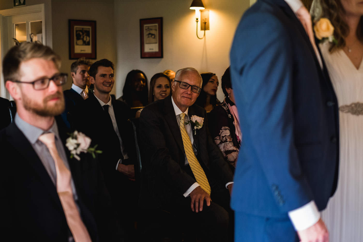 Wedding ceremony photography of the father of the bride