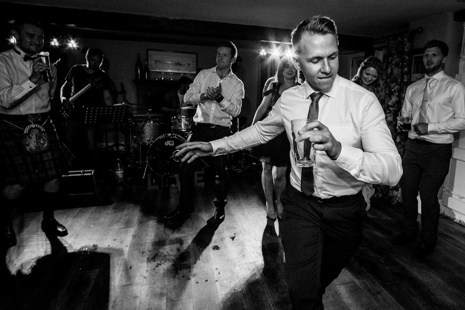 Documentary wedding disco photography at The Punch Bowl Inn, Lake District